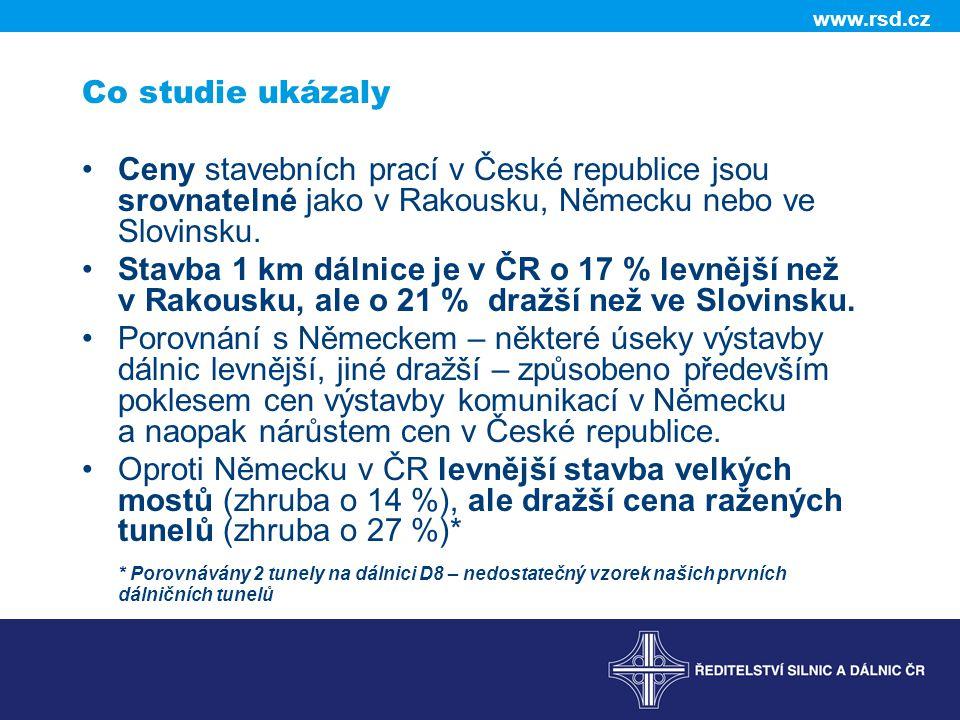 www.rsd.cz Co studie ukázaly •Ceny stavebních prací v České republice jsou srovnatelné jako v Rakousku, Německu nebo ve Slovinsku.