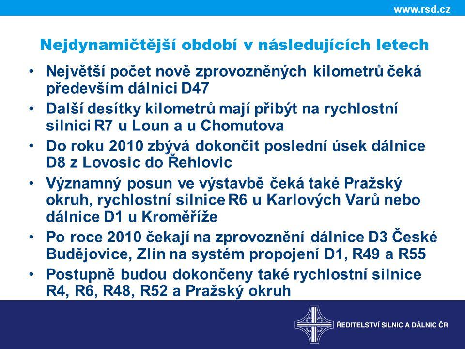 www.rsd.cz Nejdynamičtější období v následujících letech •Největší počet nově zprovozněných kilometrů čeká především dálnici D47 •Další desítky kilometrů mají přibýt na rychlostní silnici R7 u Loun a u Chomutova •Do roku 2010 zbývá dokončit poslední úsek dálnice D8 z Lovosic do Řehlovic •Významný posun ve výstavbě čeká také Pražský okruh, rychlostní silnice R6 u Karlových Varů nebo dálnice D1 u Kroměříže •Po roce 2010 čekají na zprovoznění dálnice D3 České Budějovice, Zlín na systém propojení D1, R49 a R55 •Postupně budou dokončeny také rychlostní silnice R4, R6, R48, R52 a Pražský okruh