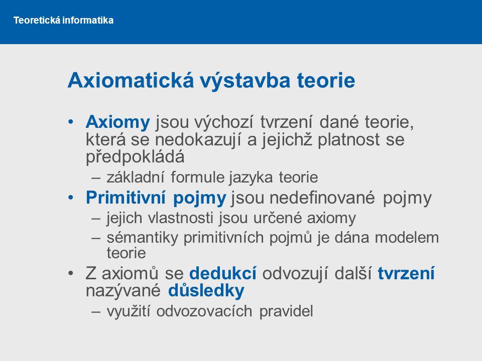Teoretická informatika Axiomatická výstavba teorie •Axiomy jsou výchozí tvrzení dané teorie, která se nedokazují a jejichž platnost se předpokládá –zá