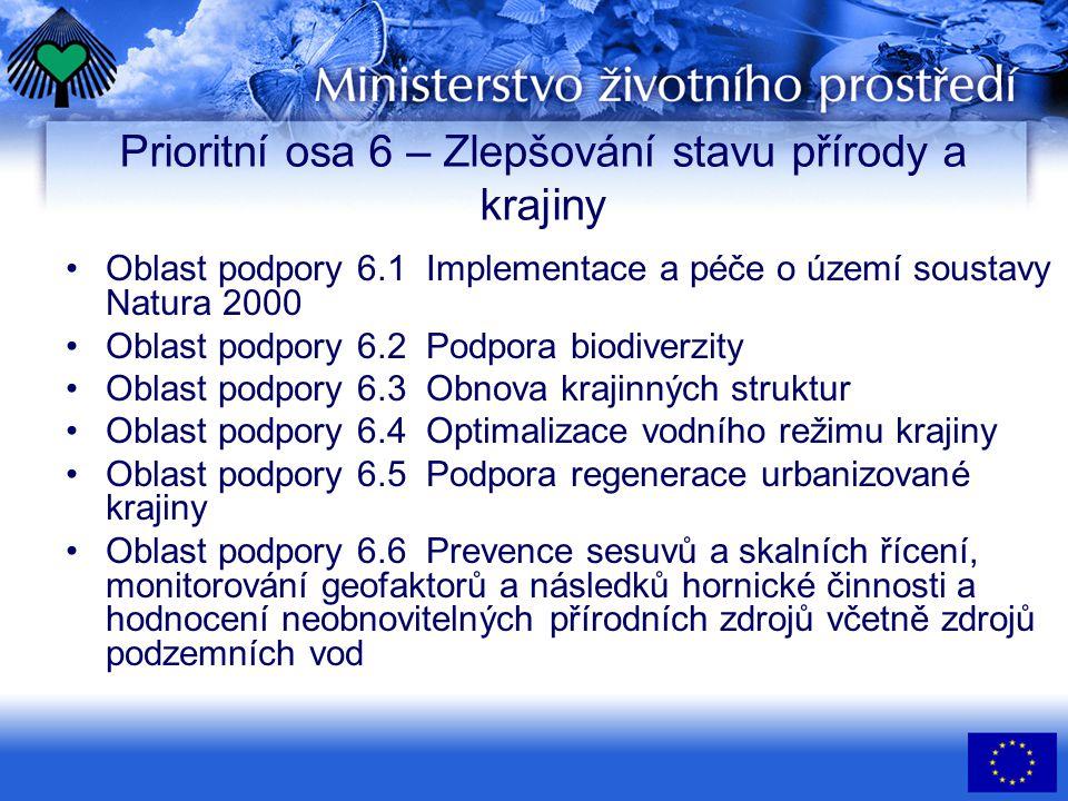 Prioritní osa 6 – Zlepšování stavu přírody a krajiny •Oblast podpory 6.1 Implementace a péče o území soustavy Natura 2000 •Oblast podpory 6.2 Podpora