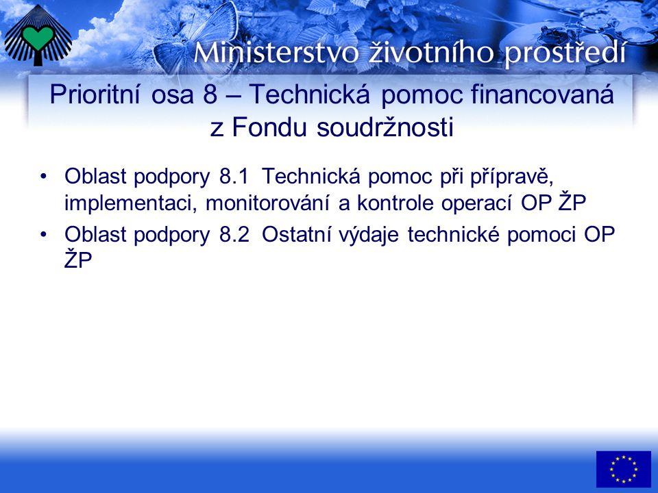 Prioritní osa 8 – Technická pomoc financovaná z Fondu soudržnosti •Oblast podpory 8.1 Technická pomoc při přípravě, implementaci, monitorování a kontr