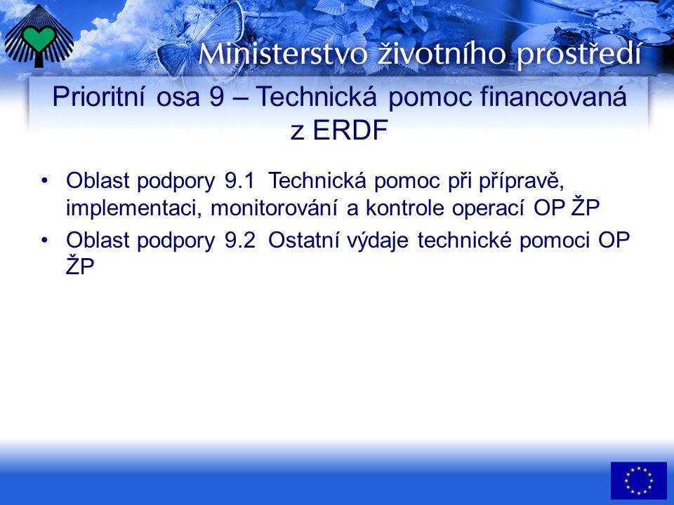 Prioritní osa 9 – Technická pomoc financovaná z ERDF • •Oblast podpory 9.1 Technická pomoc při přípravě, implementaci, monitorování a kontrole operací OP ŽP • •Oblast podpory 9.2 Ostatní výdaje technické pomoci OP ŽP