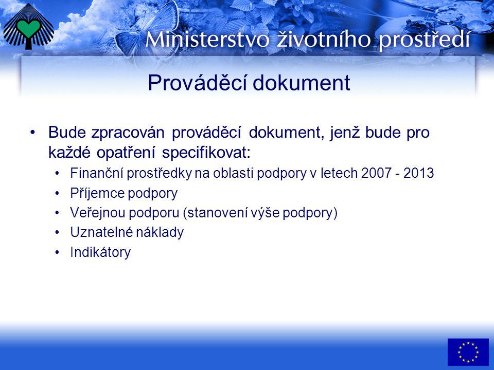 Prováděcí dokument •Bude zpracován prováděcí dokument, jenž bude pro každé opatření specifikovat: •Finanční prostředky na oblasti podpory v letech 2007 - 2013 •Příjemce podpory •Veřejnou podporu (stanovení výše podpory) •Uznatelné náklady •Indikátory