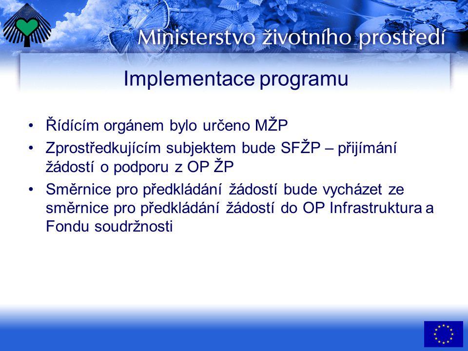 Implementace programu •Řídícím orgánem bylo určeno MŽP •Zprostředkujícím subjektem bude SFŽP – přijímání žádostí o podporu z OP ŽP •Směrnice pro předkládání žádostí bude vycházet ze směrnice pro předkládání žádostí do OP Infrastruktura a Fondu soudržnosti