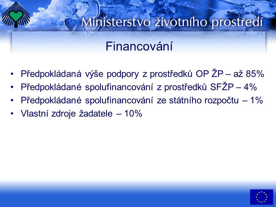 Financování •Předpokládaná výše podpory z prostředků OP ŽP – až 85% •Předpokládané spolufinancování z prostředků SFŽP – 4% •Předpokládané spolufinancování ze státního rozpočtu – 1% •Vlastní zdroje žadatele – 10%