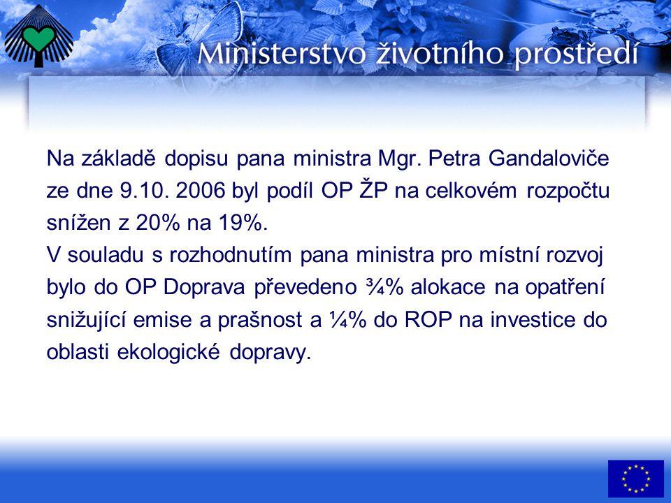 Na základě dopisu pana ministra Mgr. Petra Gandaloviče ze dne 9.10. 2006 byl podíl OP ŽP na celkovém rozpočtu snížen z 20% na 19%. V souladu s rozhodn