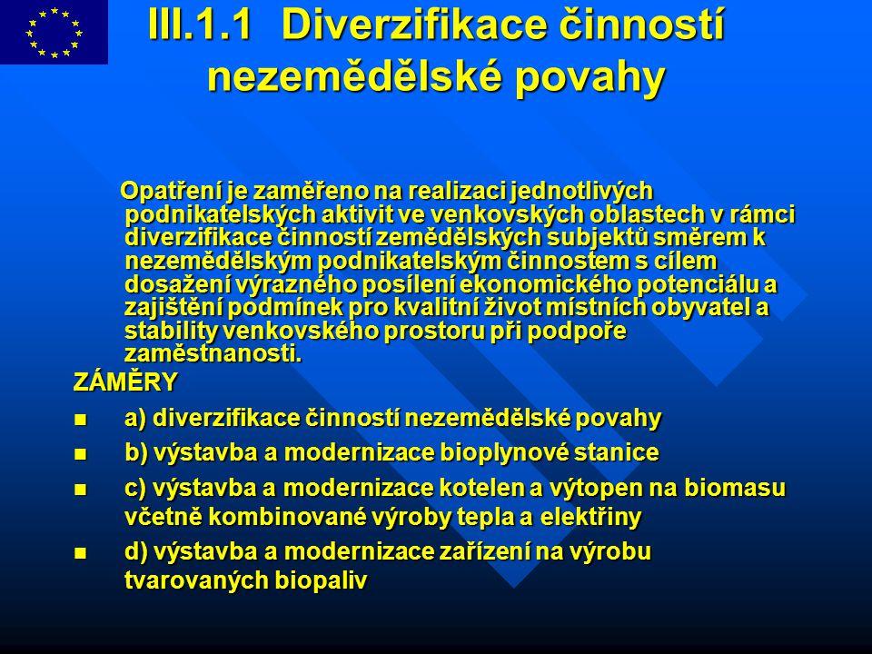 III.1.1 Diverzifikace činností nezemědělské povahy Opatření je zaměřeno na realizaci jednotlivých podnikatelských aktivit ve venkovských oblastech v r