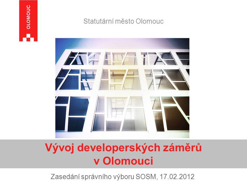 Statutární město Olomouc Zasedání správního výboru SOSM, 17.02.2012 Vývoj developerských záměrů v Olomouci
