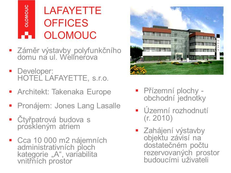  Záměr výstavby polyfunkčního domu na ul.Wellnerova  Developer: HOTEL LAFAYETTE, s.r.o.