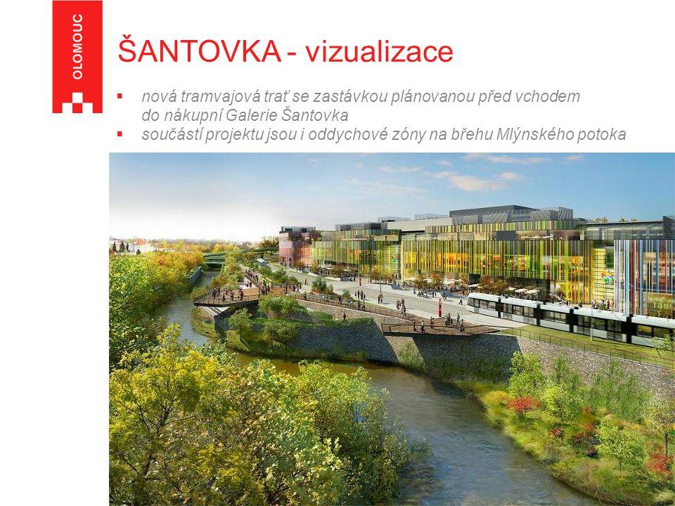  nová tramvajová trať se zastávkou plánovanou před vchodem do nákupní Galerie Šantovka  součástí projektu jsou i oddychové zóny na břehu Mlýnského potoka ŠANTOVKA - vizualizace