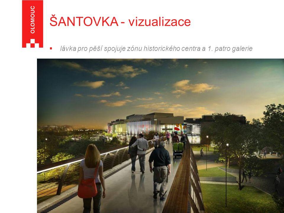  lávka pro pěší spojuje zónu historického centra a 1. patro galerie ŠANTOVKA - vizualizace