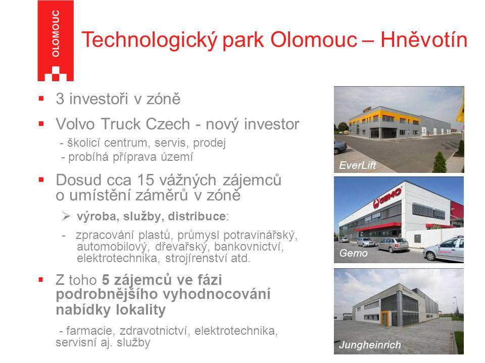  3 investoři v zóně  Volvo Truck Czech - nový investor - školicí centrum, servis, prodej - probíhá příprava území  Dosud cca 15 vážných zájemců o umístění záměrů v zóně  výroba, služby, distribuce: - zpracování plastů, průmysl potravinářský, automobilový, dřevařský, bankovnictví, elektrotechnika, strojírenství atd.