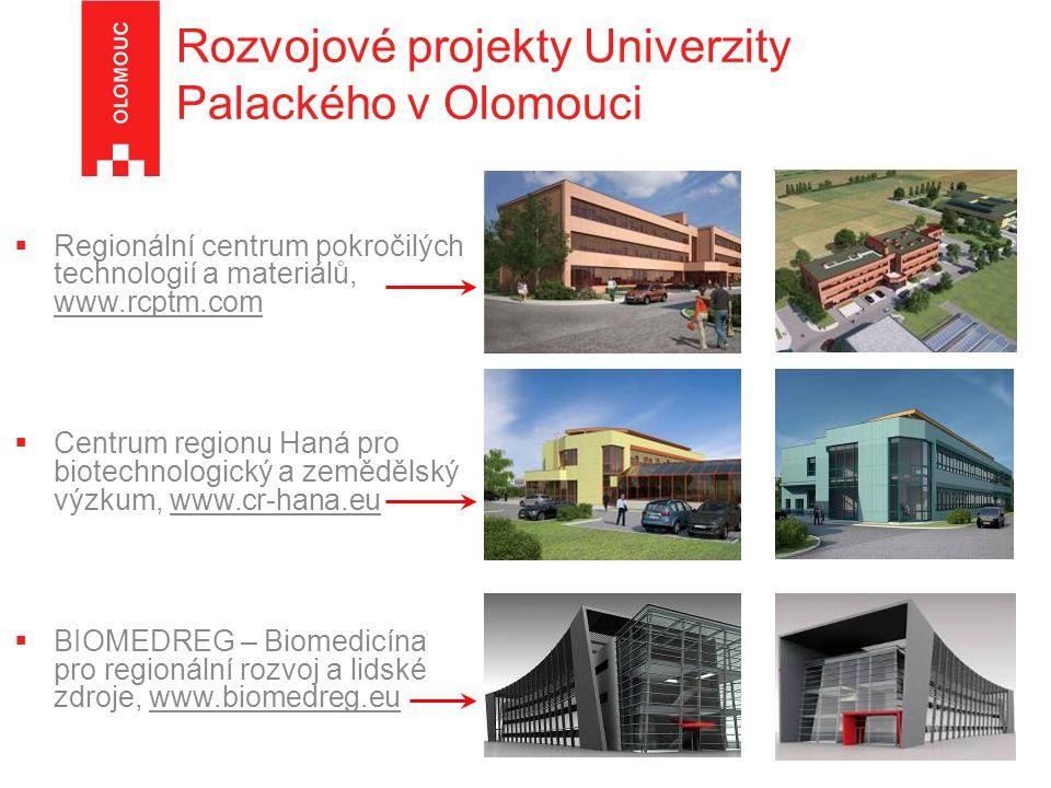 Rozvojové projekty Univerzity Palackého v Olomouci  Regionální centrum pokročilých technologií a materiálů, www.rcptm.com  Centrum regionu Haná pro biotechnologický a zemědělský výzkum, www.cr-hana.eu  BIOMEDREG – Biomedicína pro regionální rozvoj a lidské zdroje, www.biomedreg.eu