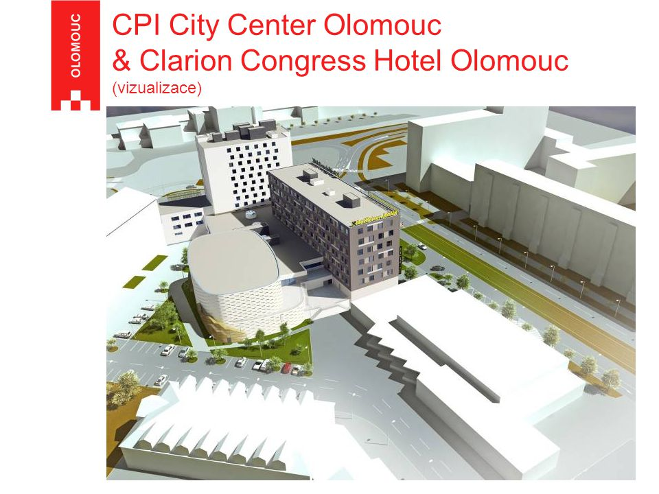 CPI City Center Olomouc, RB & Clarion Congress Hotel - vizualizace