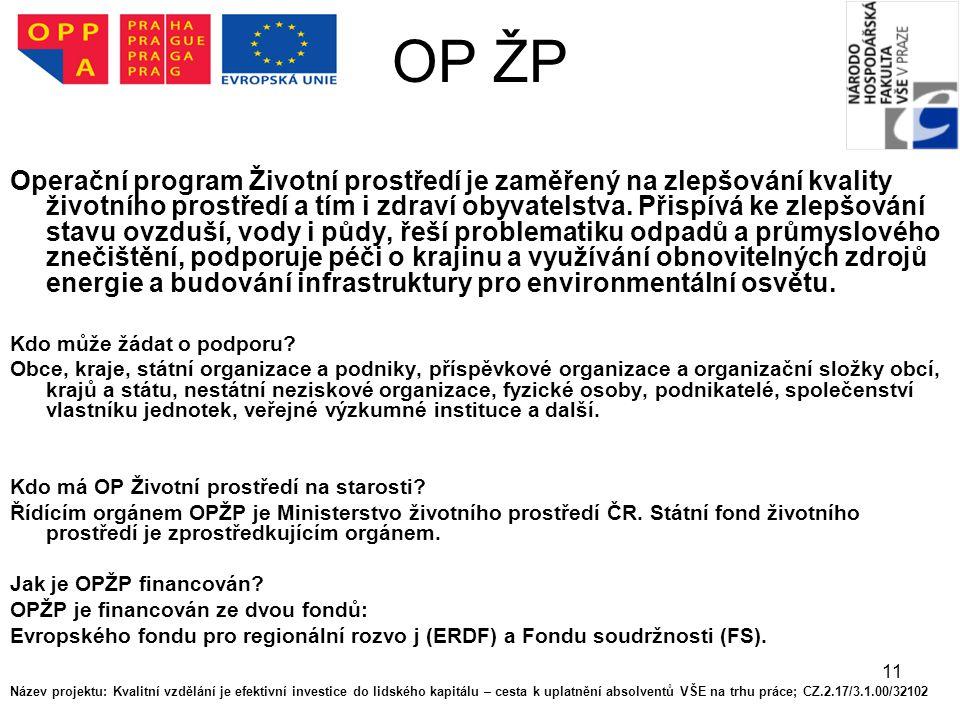11 OP ŽP Operační program Životní prostředí je zaměřený na zlepšování kvality životního prostředí a tím i zdraví obyvatelstva. Přispívá ke zlepšování