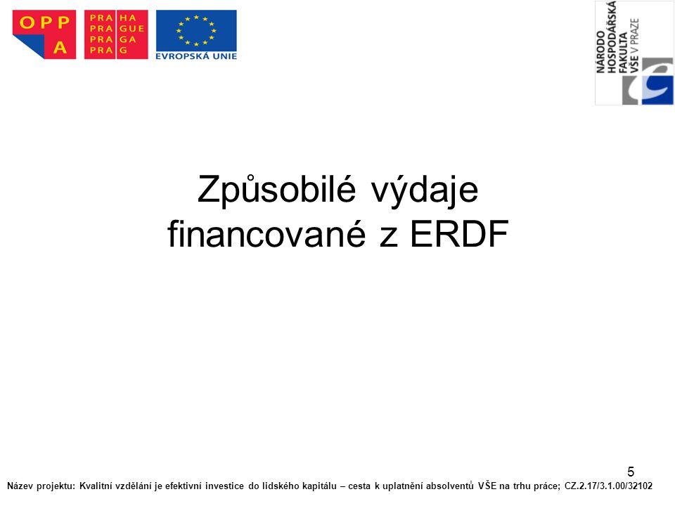 """6 Způsobilé výdaje z ERDF Pokud nejsou stanovena pravidla Společenství, určuje se způsobilost výdajů podle náležitých vnitrostátních pravidel dohodnutých mezi členskými státy, které se účastní operačního programu v rámci cíle """"Evropská územní spolupráce ."""