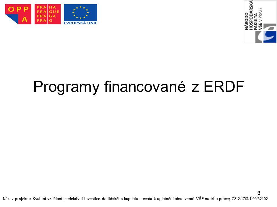 8 Programy financované z ERDF Název projektu: Kvalitní vzdělání je efektivní investice do lidského kapitálu – cesta k uplatnění absolventů VŠE na trhu