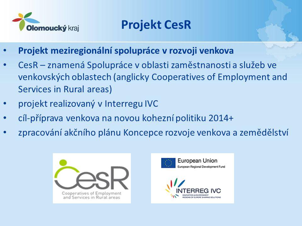 Projekt CesR • Projekt meziregionální spolupráce v rozvoji venkova • CesR – znamená Spolupráce v oblasti zaměstnanosti a služeb ve venkovských oblaste