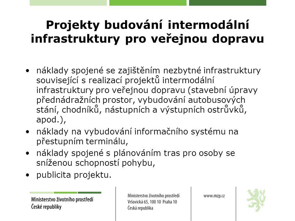 Projekty budování intermodální infrastruktury pro veřejnou dopravu •náklady spojené se zajištěním nezbytné infrastruktury související s realizací projektů intermodální infrastruktury pro veřejnou dopravu (stavební úpravy přednádražních prostor, vybudování autobusových stání, chodníků, nástupních a výstupních ostrůvků, apod.), •náklady na vybudování informačního systému na přestupním terminálu, •náklady spojené s plánováním tras pro osoby se sníženou schopností pohybu, •publicita projektu.