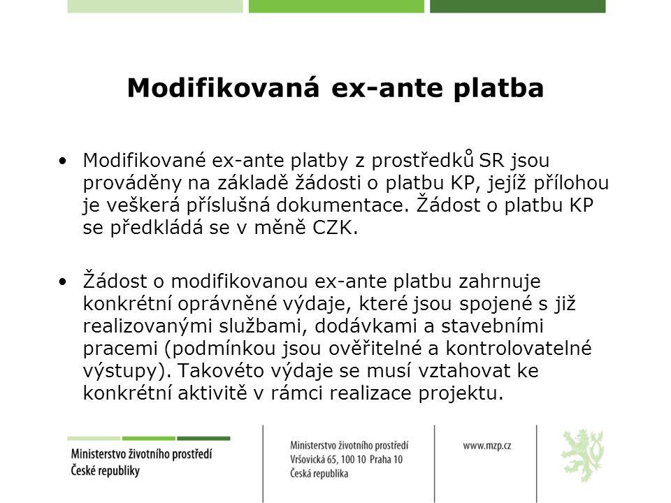 Modifikovaná ex-ante platba •Modifikované ex-ante platby z prostředků SR jsou prováděny na základě žádosti o platbu KP, jejíž přílohou je veškerá příslušná dokumentace.