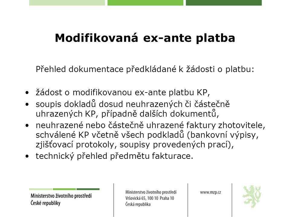 Modifikovaná ex-ante platba Přehled dokumentace předkládané k žádosti o platbu: •žádost o modifikovanou ex-ante platbu KP, •soupis dokladů dosud neuhr