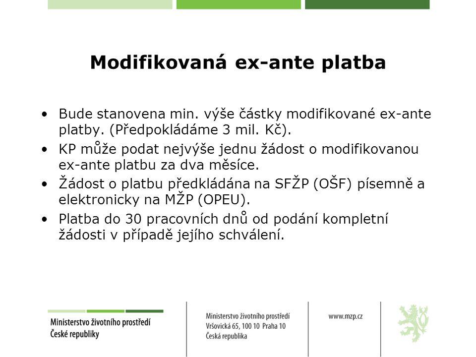 Modifikovaná ex-ante platba •Bude stanovena min. výše částky modifikované ex-ante platby. (Předpokládáme 3 mil. Kč). •KP může podat nejvýše jednu žádo