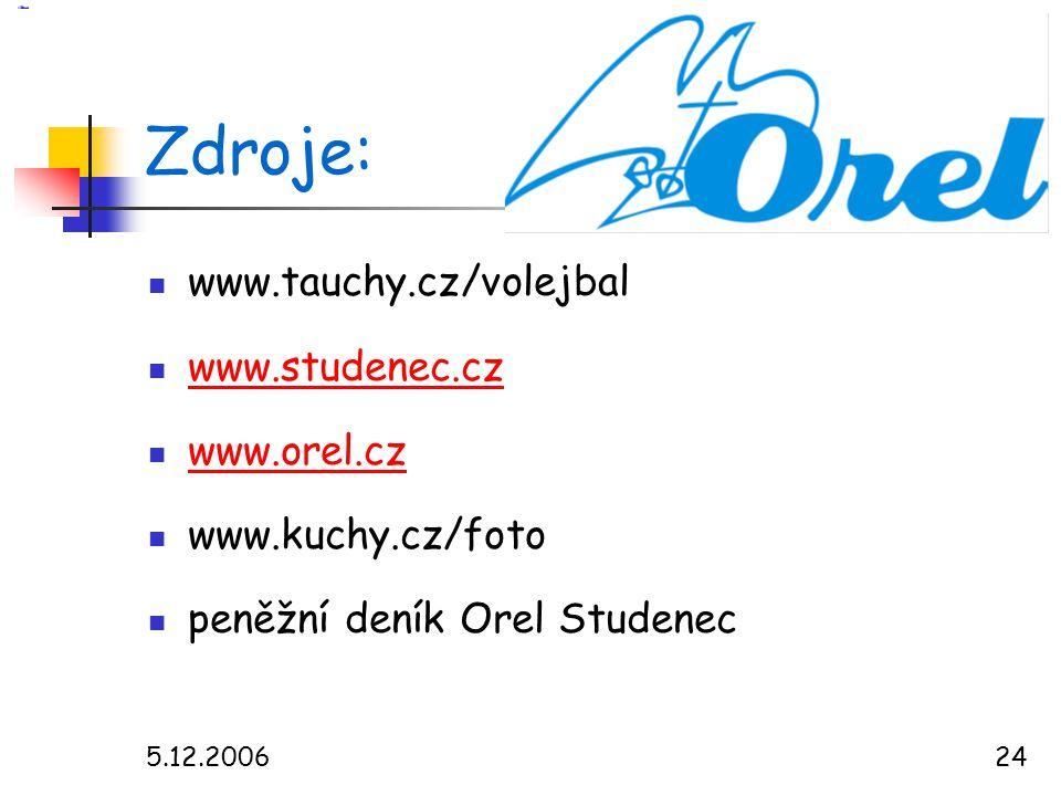 5.12.200624 Zdroje:  www.tauchy.cz/volejbal  www.studenec.cz www.studenec.cz  www.orel.cz www.orel.cz  www.kuchy.cz/foto  peněžní deník Orel Studenec