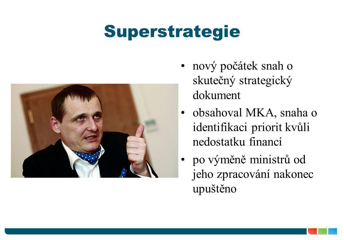 Superstrategie •nový počátek snah o skutečný strategický dokument •obsahoval MKA, snaha o identifikaci priorit kvůli nedostatku financí •po výměně min
