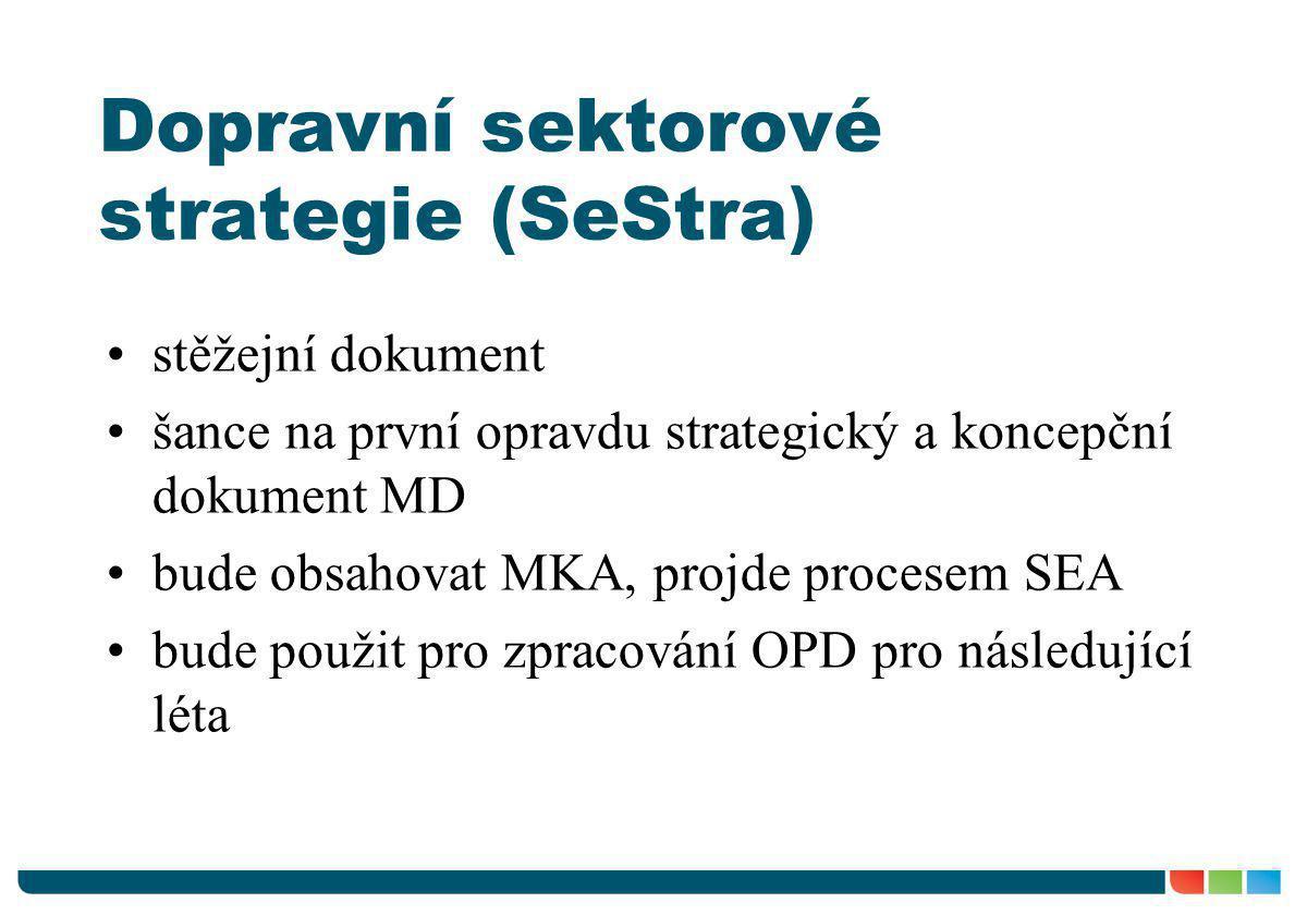 Dopravní sektorové strategie (SeStra) •stěžejní dokument •šance na první opravdu strategický a koncepční dokument MD •bude obsahovat MKA, projde proce