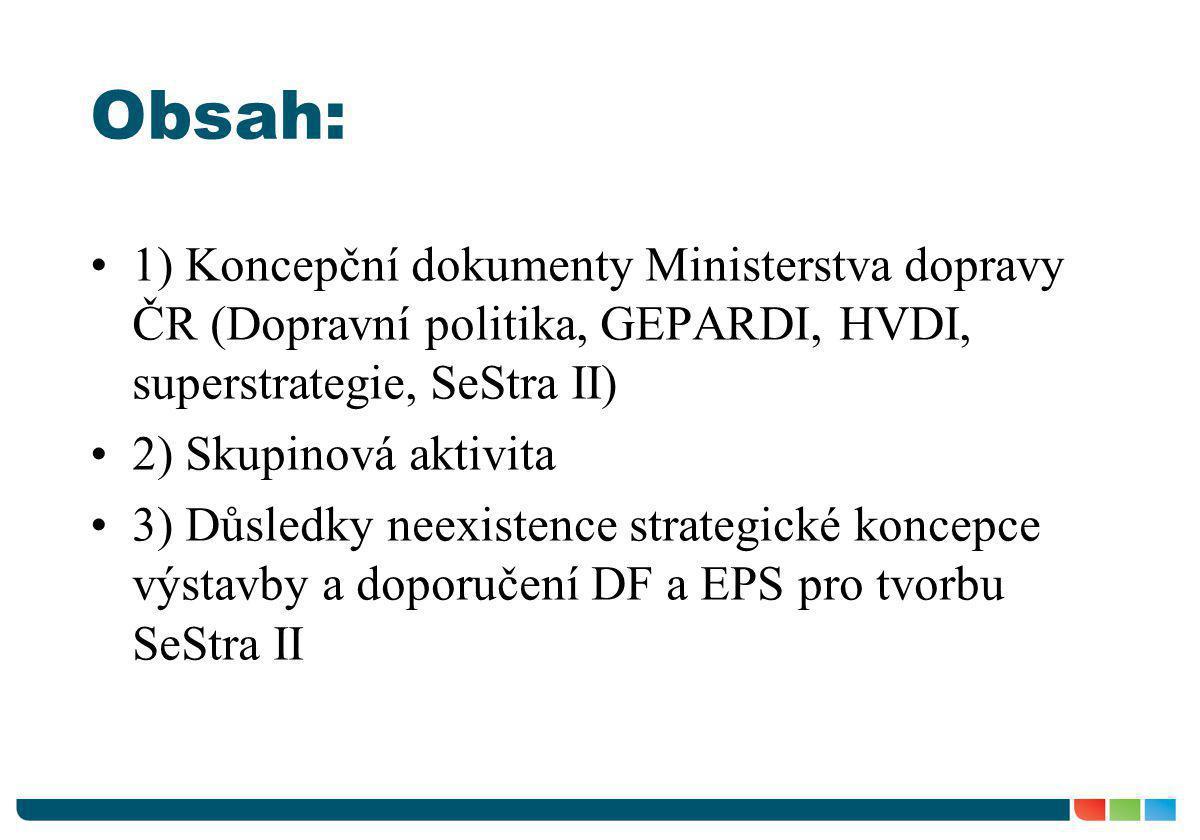 Obsah: •1) Koncepční dokumenty Ministerstva dopravy ČR (Dopravní politika, GEPARDI, HVDI, superstrategie, SeStra II) •2) Skupinová aktivita •3) Důsled