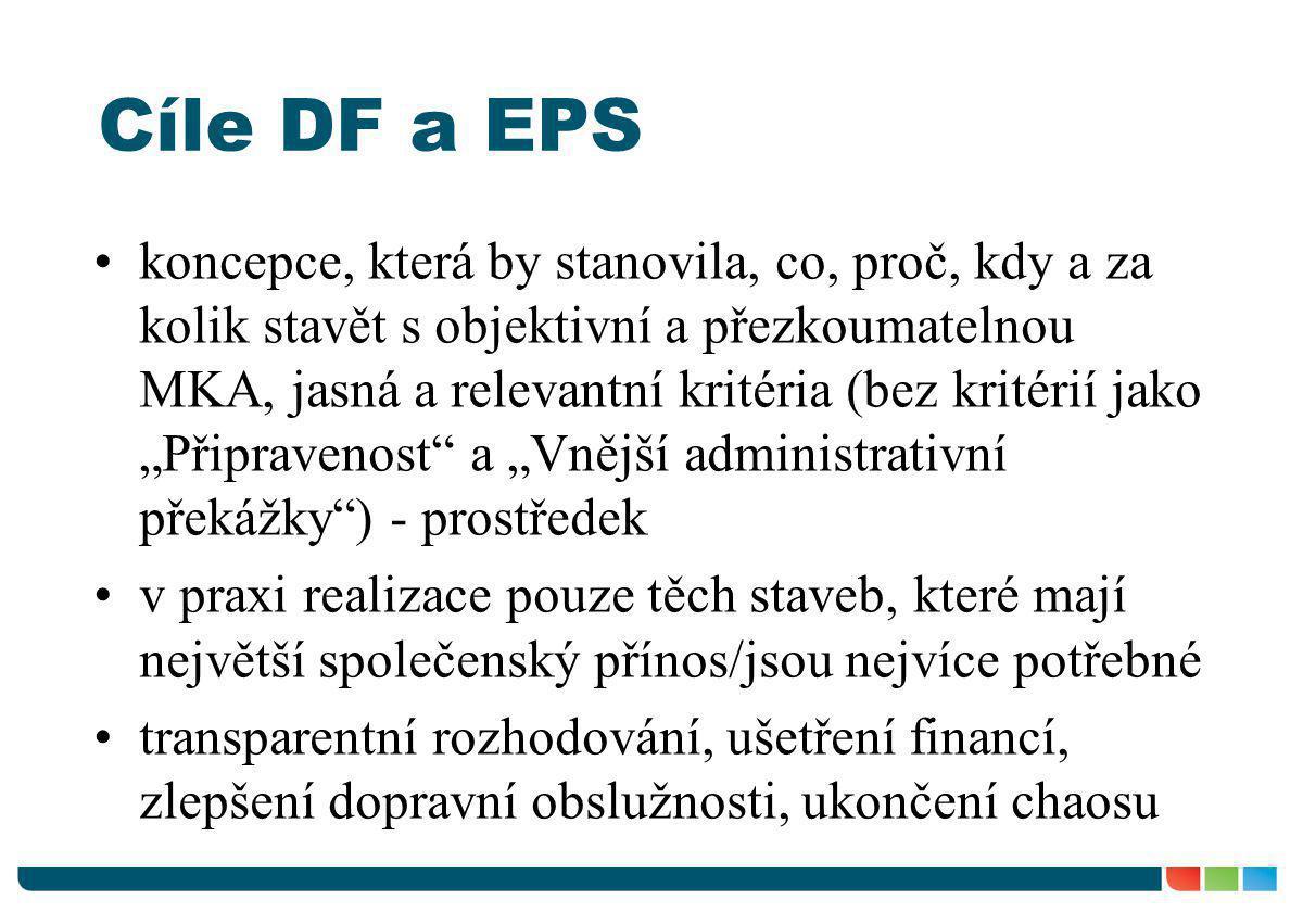 Cíle DF a EPS •koncepce, která by stanovila, co, proč, kdy a za kolik stavět s objektivní a přezkoumatelnou MKA, jasná a relevantní kritéria (bez krit