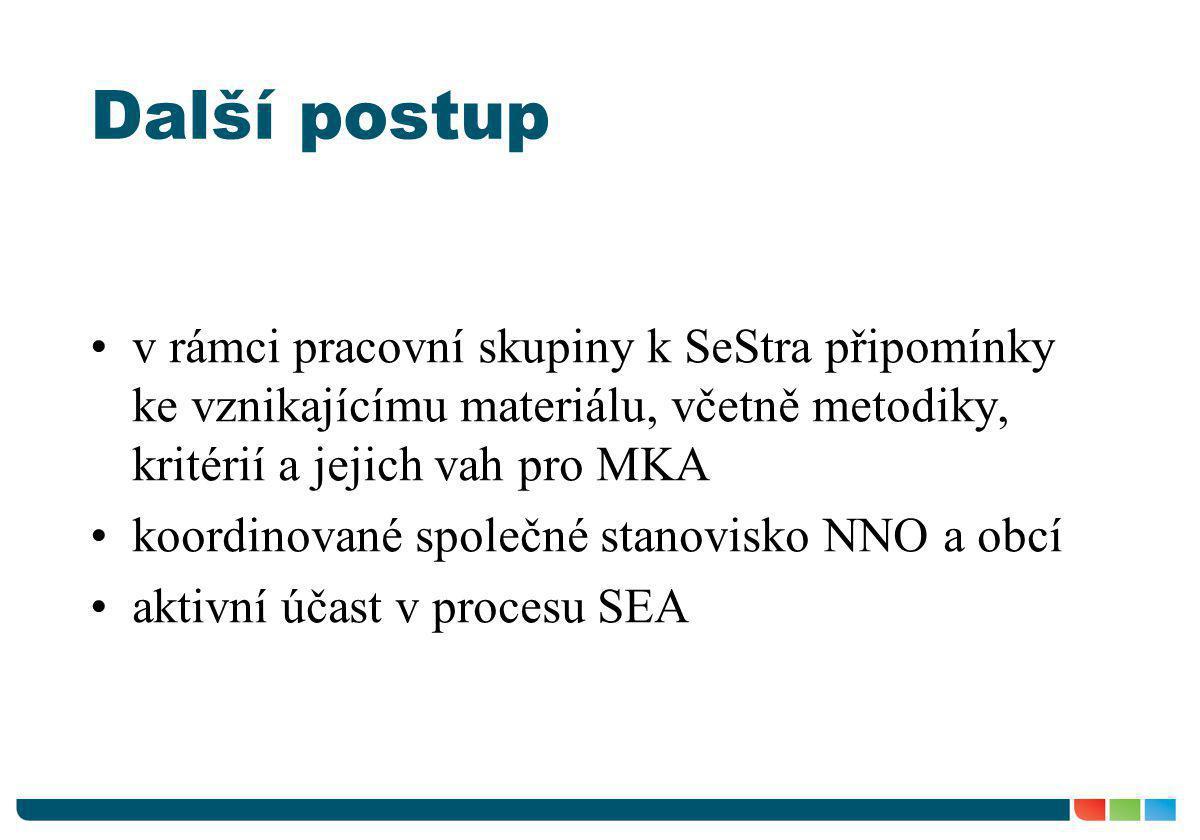 Další postup •v rámci pracovní skupiny k SeStra připomínky ke vznikajícímu materiálu, včetně metodiky, kritérií a jejich vah pro MKA •koordinované spo