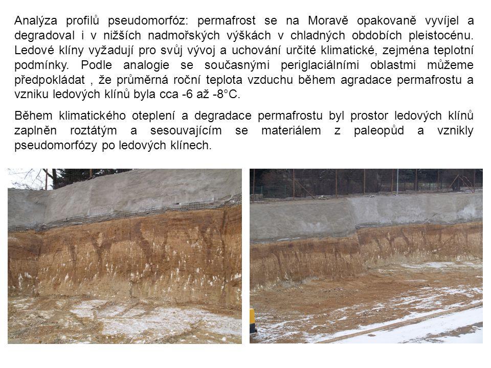 Analýza profilů pseudomorfóz: permafrost se na Moravě opakovaně vyvíjel a degradoval i v nižších nadmořských výškách v chladných obdobích pleistocénu.
