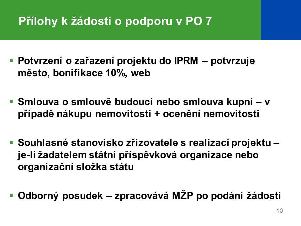 Přílohy k žádosti o podporu v PO 7  Potvrzení o zařazení projektu do IPRM – potvrzuje město, bonifikace 10%, web  Smlouva o smlouvě budoucí nebo sml