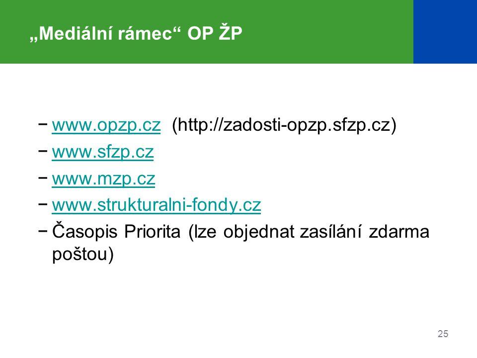 """25 """"Mediální rámec"""" OP ŽP −www.opzp.cz (http://zadosti-opzp.sfzp.cz)www.opzp.cz −www.sfzp.czwww.sfzp.cz −www.mzp.czwww.mzp.cz −www.strukturalni-fondy."""