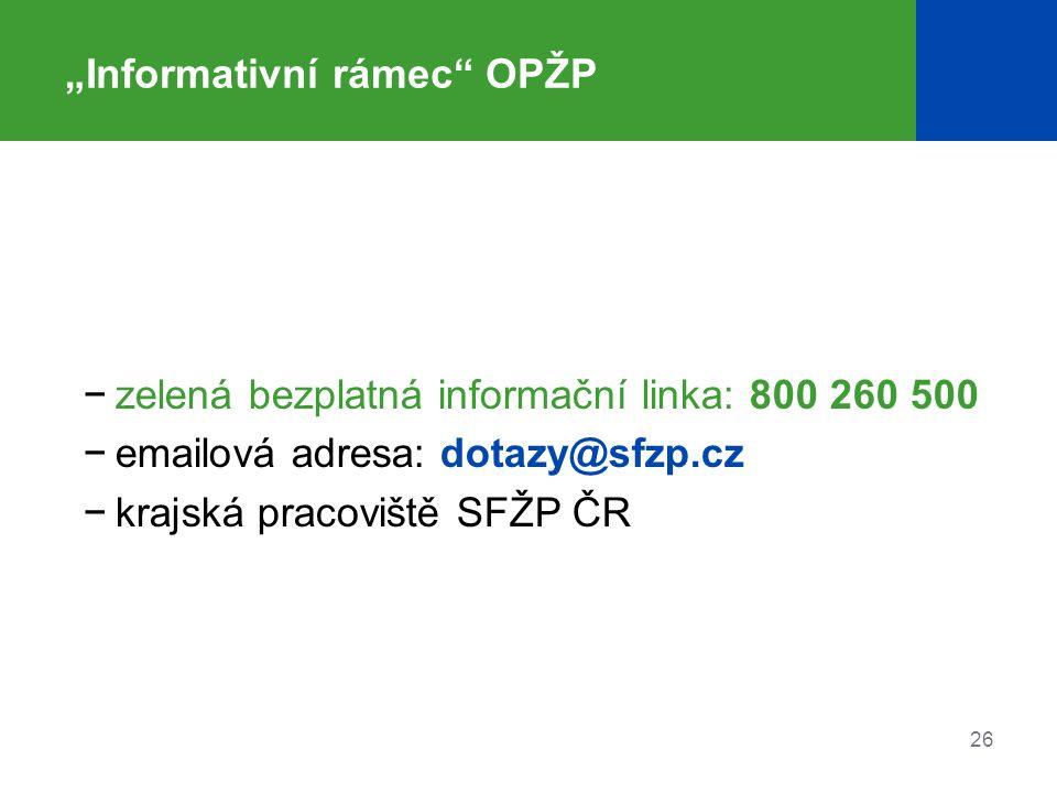 """26 """"Informativní rámec"""" OPŽP −zelená bezplatná informační linka: 800 260 500 −emailová adresa: dotazy@sfzp.cz −krajská pracoviště SFŽP ČR"""