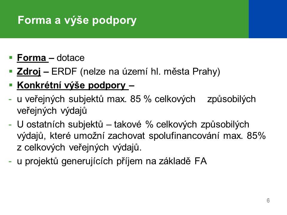 Forma a výše podpory  Forma – dotace  Zdroj – ERDF (nelze na území hl. města Prahy)  Konkrétní výše podpory – -u veřejných subjektů max. 85 % celko