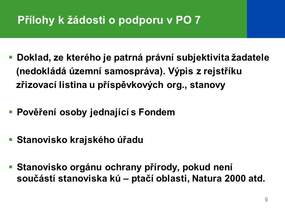 Přílohy k žádosti o podporu v PO 7  Doklad, ze kterého je patrná právní subjektivita žadatele (nedokládá územní samospráva). Výpis z rejstříku zřizov