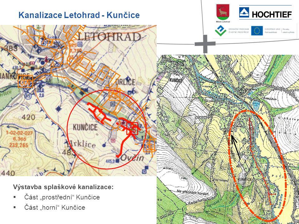 """Výstavba splaškové kanalizace:  Část """"prostřední"""" Kunčice  Část """"horní"""" Kunčice Kanalizace Letohrad - Kunčice"""