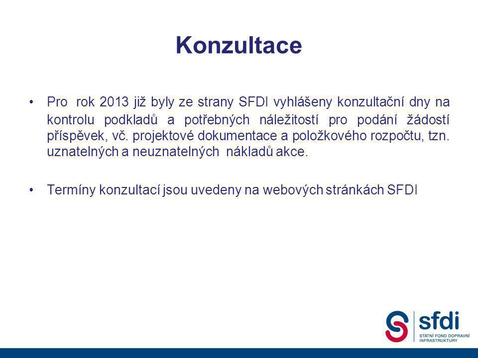 Konzultace •Pro rok 2013 již byly ze strany SFDI vyhlášeny konzultační dny na kontrolu podkladů a potřebných náležitostí pro podání žádostí příspěvek, vč.