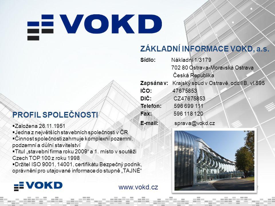 www.vokd.cz 12 Sídlo: Nákladní 1/3179 702 80 Ostrava-Moravská Ostrava Česká Republika Zapsána v: Krajský soud v Ostravě, oddíl B, vl.595 IČO: 47675853