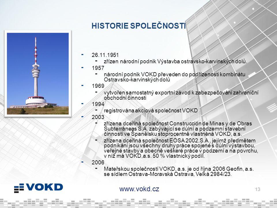 www.vokd.cz HISTORIE SPOLEČNOSTI 26.11.1951 zřízen národní podnik Výstavba ostravsko-karvinských dolů. 1957 národní podnik VOKD převeden do podřízenos