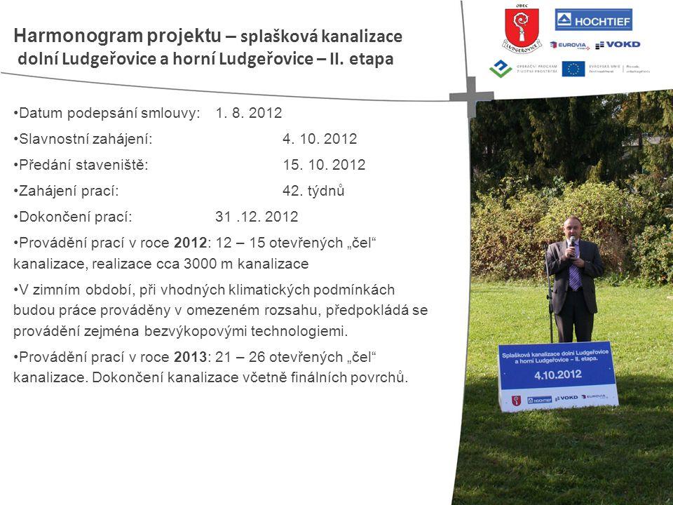 • Datum podepsání smlouvy: 1. 8. 2012 • Slavnostní zahájení: 4. 10. 2012 • Předání staveniště: 15. 10. 2012 • Zahájení prací: 42. týdnů • Dokončení pr