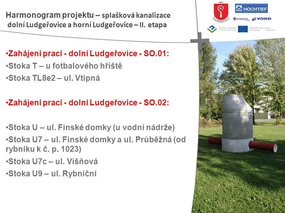 • Zahájení prací - dolní Ludgeřovice - SO.01: • Stoka T – u fotbalového hřiště • Stoka TL8e2 – ul. Vtipná • Zahájení prací - dolní Ludgeřovice - SO.02