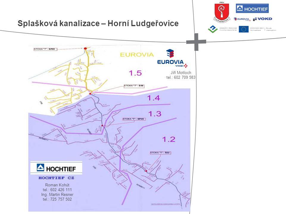 Splašková kanalizace – Horní Ludgeřovice Jiří Motloch tel.: 602 709 583 Roman Kohút tel.: 602 426 111 Ing. Martin Resner tel.: 725 757 502