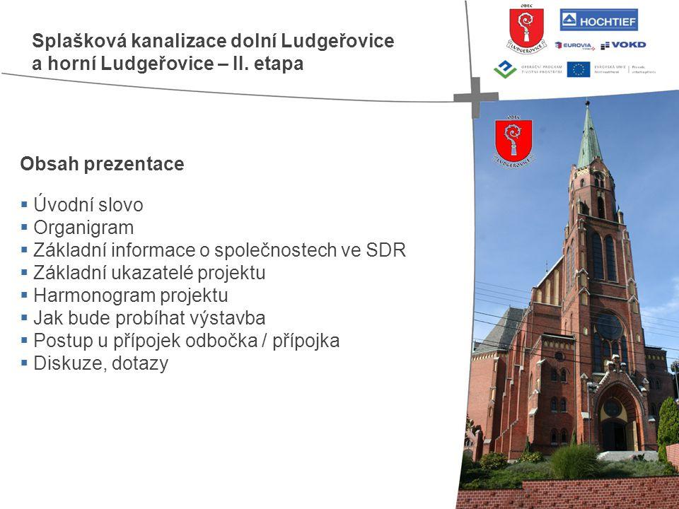 Obsah prezentace  Úvodní slovo  Organigram  Základní informace o společnostech ve SDR  Základní ukazatelé projektu  Harmonogram projektu  Jak bu