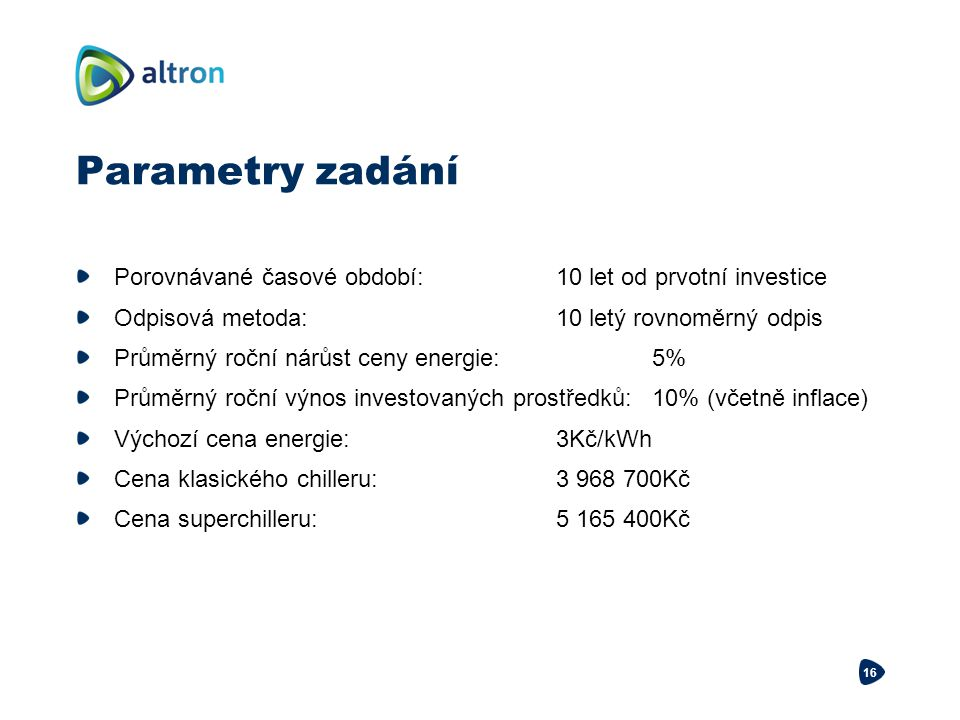 Parametry zadání Porovnávané časové období:10 let od prvotní investice Odpisová metoda:10 letý rovnoměrný odpis Průměrný roční nárůst ceny energie:5%