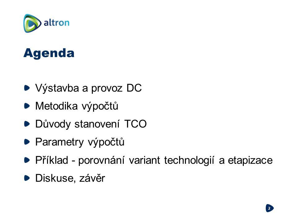Agenda Výstavba a provoz DC Metodika výpočtů Důvody stanovení TCO Parametry výpočtů Příklad - porovnání variant technologií a etapizace Diskuse, závěr