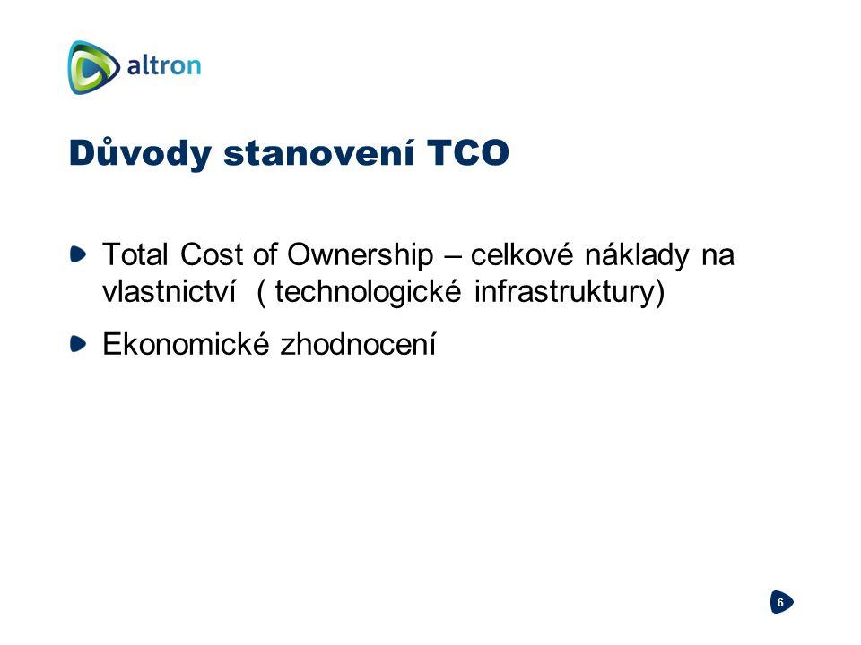 Důvody stanovení TCO Total Cost of Ownership – celkové náklady na vlastnictví ( technologické infrastruktury) Ekonomické zhodnocení 6