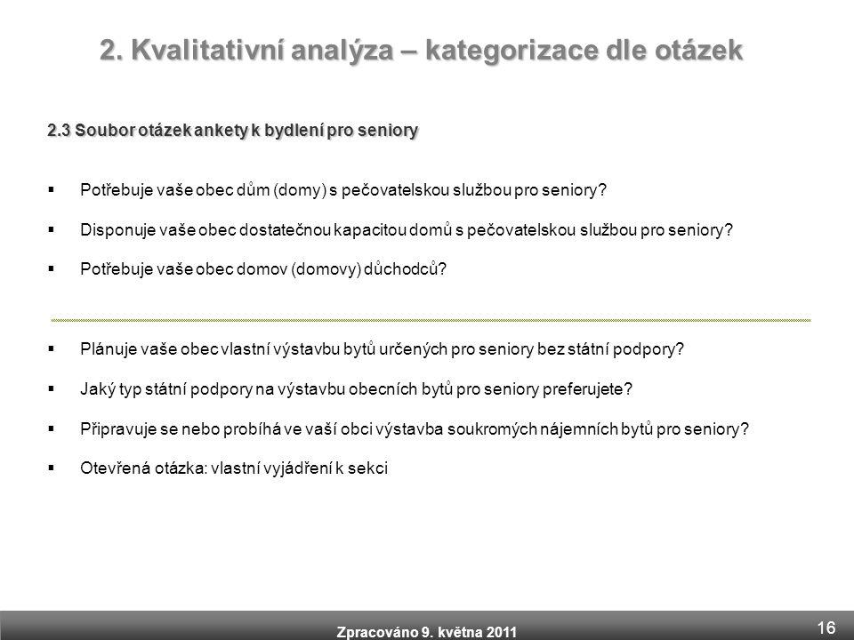 Zpracováno 9. května 2011 2. Kvalitativní analýza – kategorizace dle otázek 2.3 Soubor otázek ankety k bydlení pro seniory  Potřebuje vaše obec dům (
